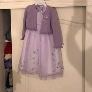 NWOT sz 4 purple sweater w/dress embroidered